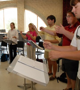 music education students in conducting class